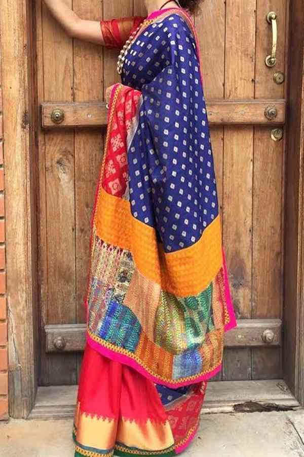 Indian Wedding Deep Blue Upcoming Silk Saree With Beautiful Designer Pallu