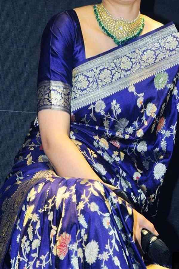 Indian Wedding Blue Colored Upcoming Silk Saree With Blouse