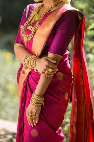 Rani Pink With Golden Colored Border Traditional Silk Saree With Blouse For Women - CD428