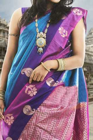 Multi Colored Traditional Silk Saree With Blouse For Women - CD433