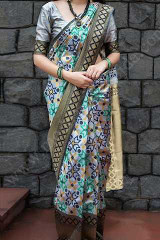 Multi Colored Traditional Silk Saree With Blouse For Women - CD442