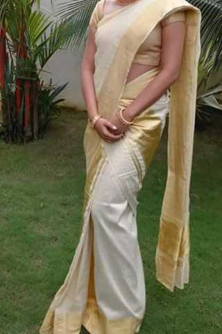 White With Golden Border Traditional Silk Saree With Blouse For Women - CD473