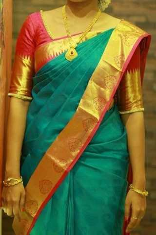 Rama Blue With Red Colored Border Traditional Silk Saree With Blouse For Women - CD490