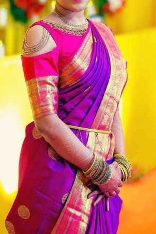 Purple Colored Traditional Silk Saree With Blouse For Women - CD562