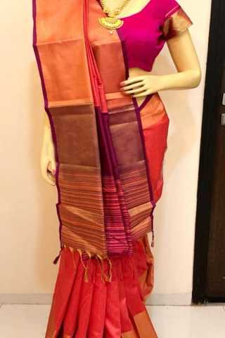 Multi Colored Traditional Silk Saree With Blouse For Women - CD564