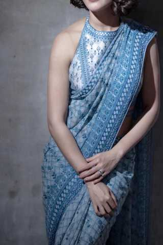 Sky Blue Colored Traditional Silk Saree With Blouse For Women - CD577