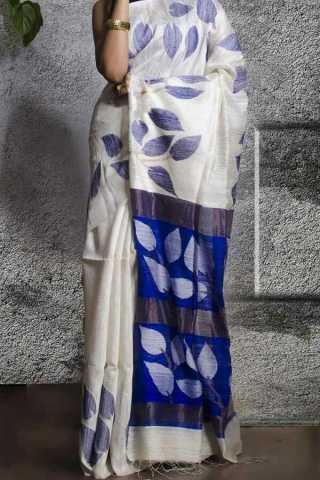 White N Blue Colored Traditional Silk Saree With Blouse For Women - CD609