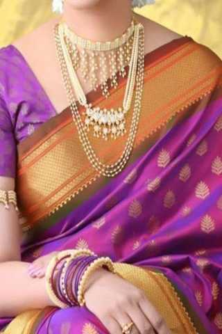 Purple Colored Traditional Silk Saree With Blouse For Women - CD653