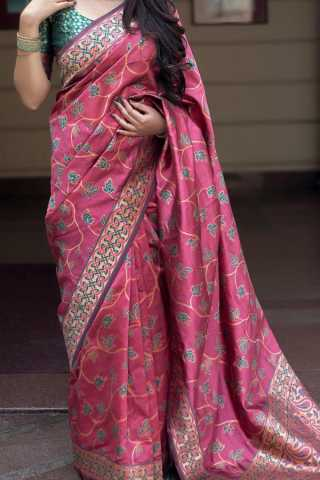 Gajari Pink Colored Traditional Silk Saree With Blouse For Women - CD655