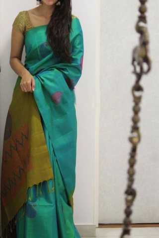 "Evergreen Green Color Soft Silk Designer Sarees - SB1294  30"""