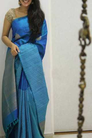 Ethnic Blue Color Soft Silk Designer Sarees - SB1304