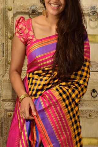 Classic Yellow n Pink Color Soft Silk Designer Sarees - SB1330  30""