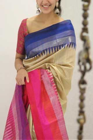 Engrossing Cream Colored Pink Border Soft Silk Party Wear Saree