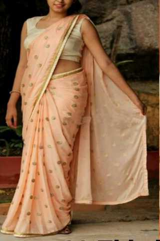 Unique Beige Color Georgette Fabric Full Sequence Work Saree - CRMLF502