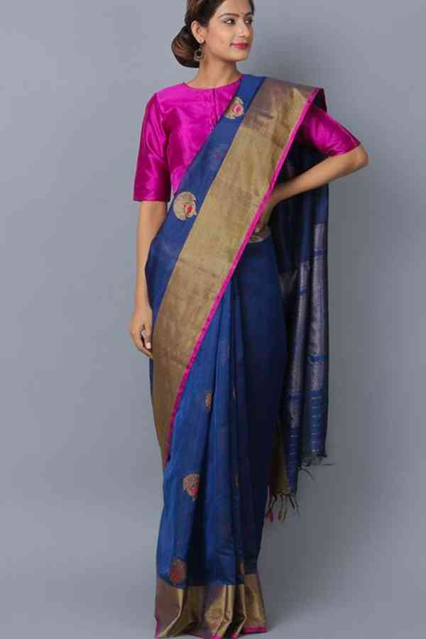 Appealing Blue Colored Wedding Wear Soft Silk Saree  30""