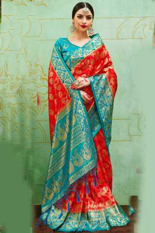 Appealing Blue Colored Wedding Wear Soft Silk Saree