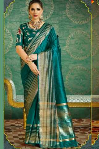 Glowing Green Colored Wedding Wear Soft Silk Saree  30""