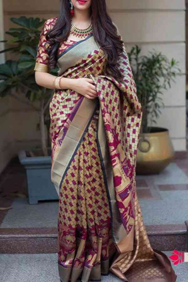 Gorgeous Kanchipuram Style Silk Saree in Beige - CS43