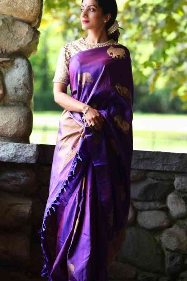 Adorable Purple Color Chennai Style Silk Saree  - CS52