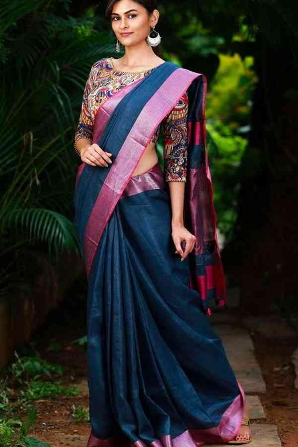 Extraordinary Blue Color Linen Party Wear Silk Saree - CS54