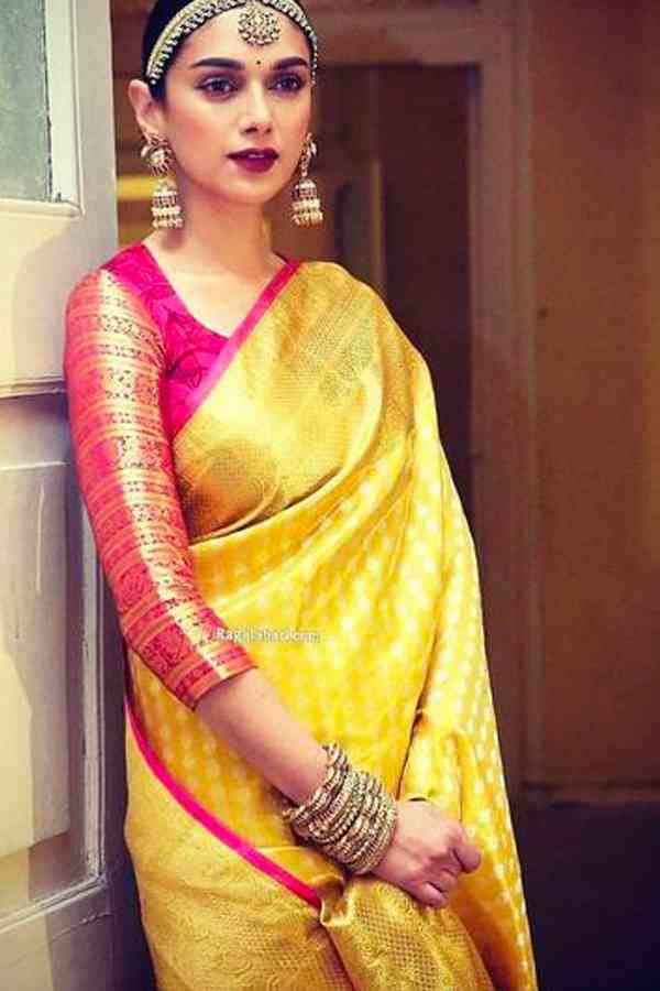 Entrancing Yellow Color Pink blouse Chennai Silk Festive Saree  - CS70