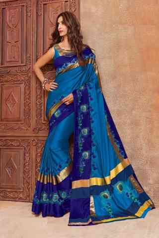 Ethnic Blue Color Cotton Silk Embroidered Sarees with Blouse