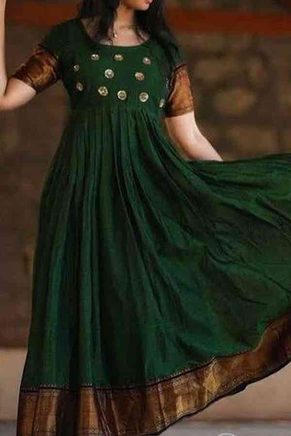Party Wear Green Color Cotton Kurti - CTK13