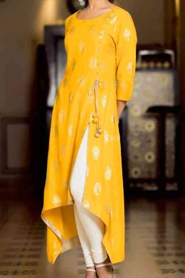 Rayon With Digital Print Yellow Colored Casual Wear Kurti With Bottom