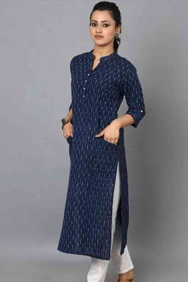 Rayon With Digital Print Blue Colored Casual Wear Kurti With Bottom