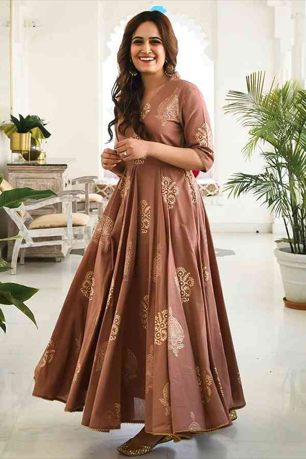 Japan Crepe With Digital Print Floor Length Brown Colored Long Gown