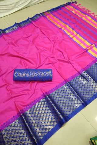 Forever Pink Color Cotton Fabric Saree - CTPinkBlue