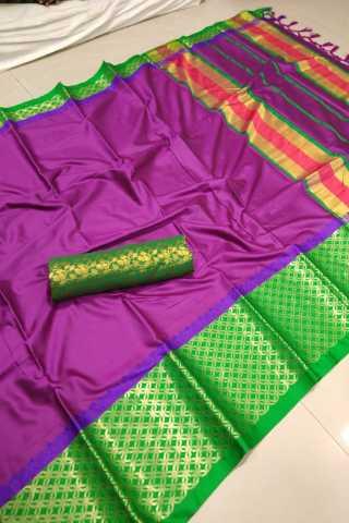 Magnificant Pink Color Cotton Fabric Saree - CTPinkGreen