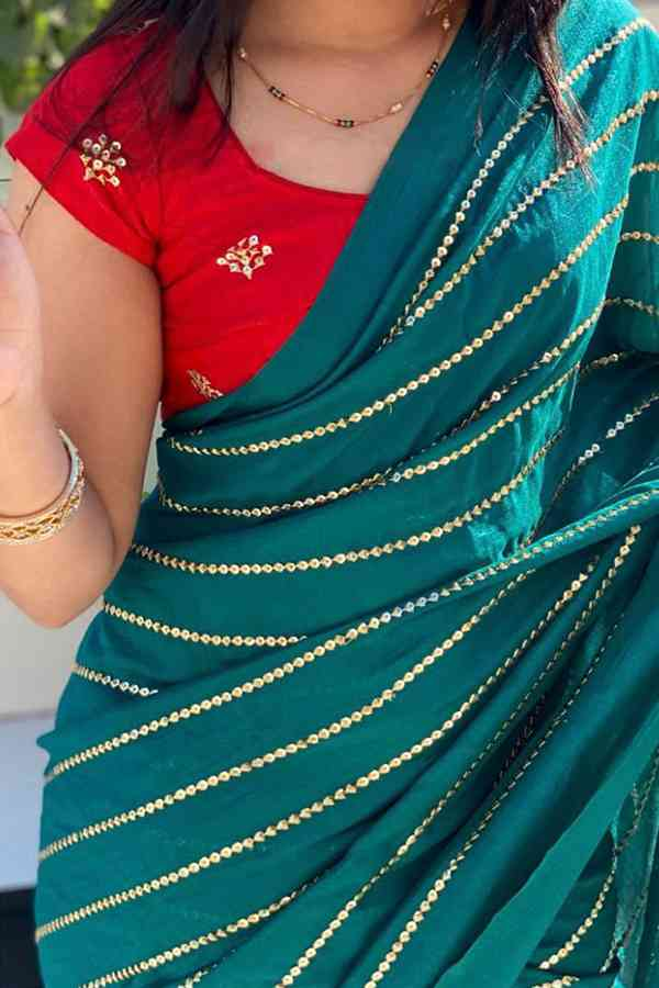 Teal Blue Chiffon Fabric Attractive Saree With Blouse For Women