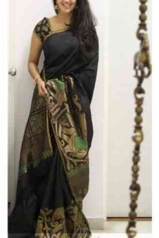 Fabulous Black Color Soft Silk Saree - SB1110