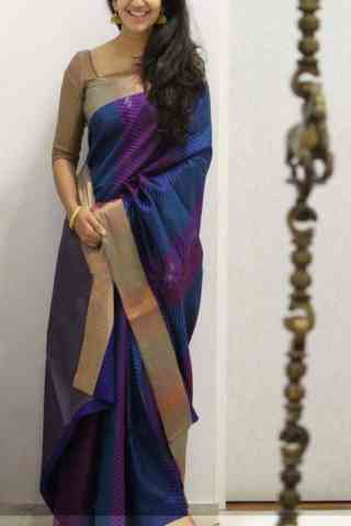 Exclusive Blue Color Soft Silk Saree - SB1112  30""