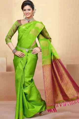 Attractive Green Color Soft Silk Saree - SB580