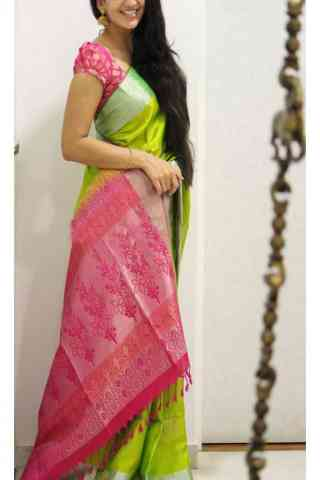Desirable Green n Pink  Color Soft Silk Saree - SB1116  30""