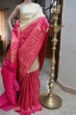 Modern White n Pink Color Soft Silk Designer Sarees - SB705