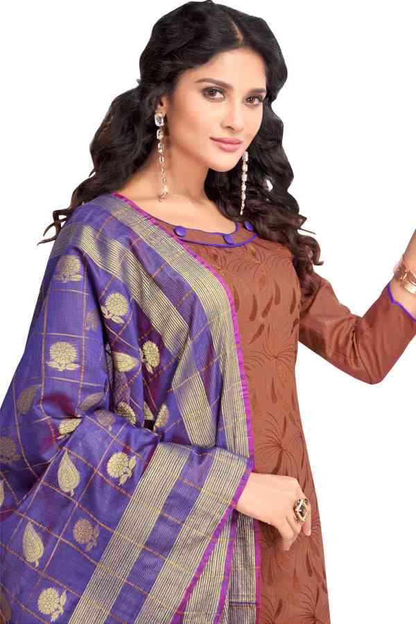 Neck Pattern PC Cotton Casual Brown Colored Dress Material With Pure Banaras Dupatta For Summer Season
