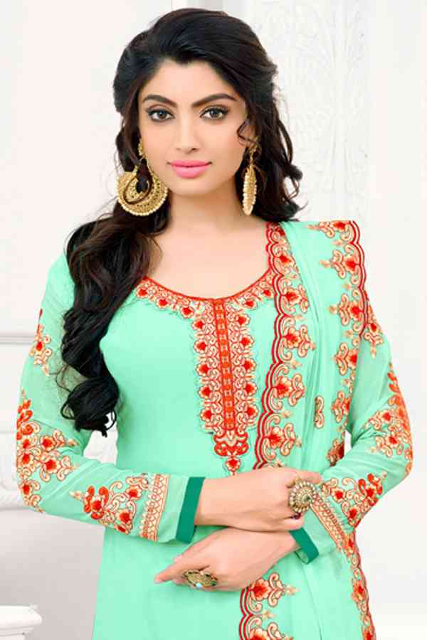 Georgette Embroidered Green Colored Partywear Salwar Suit With Dupatta