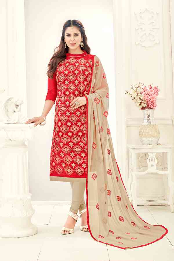 Chanderi Fabric Red Colored Dress Material With Nazmeen Dupatta For Summer Season