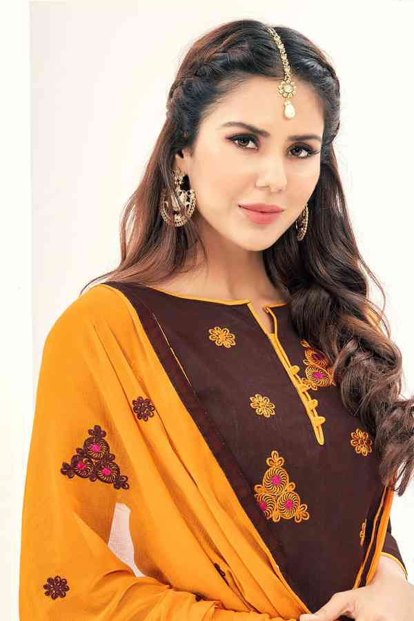 Chanderi Fabric Brown Colored Dress Material With Nazmeen Dupatta For Summer Season