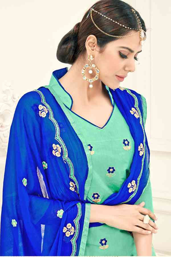 Chanderi Fabric Blue Colored Dress Material With Nazmeen Dupatta For Summer Season