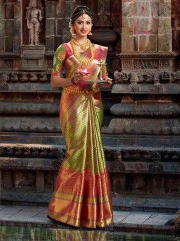 Stylish Multi Color Latest Silk Saree With Blouse Piece - DSS125