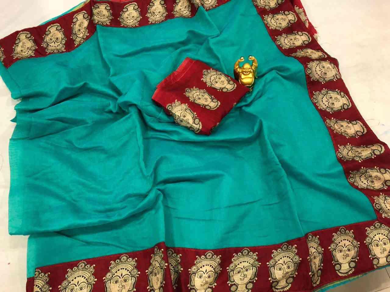 Rama Blue Colored With Meta Red Border Chanderi Silk - DVD1043F