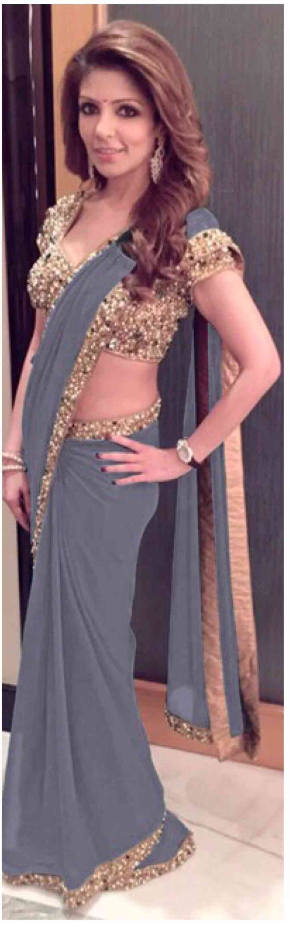 Grey Colored Georgette With Sequence Lace Border Saree With Blouse - DVD1044J