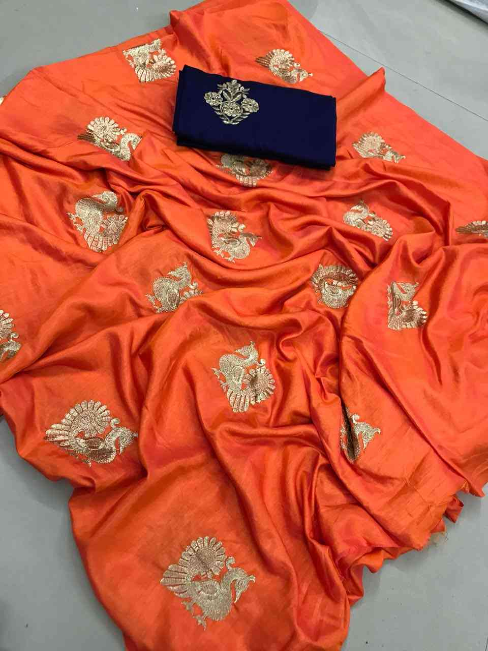 Sana Silk Orange Colored saree With Blouse For Women  - DVD1064G