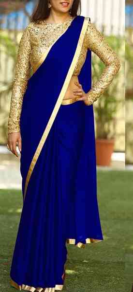 Plan Sanna Silk Saree With Golden Border And Blouse -DVD1067J