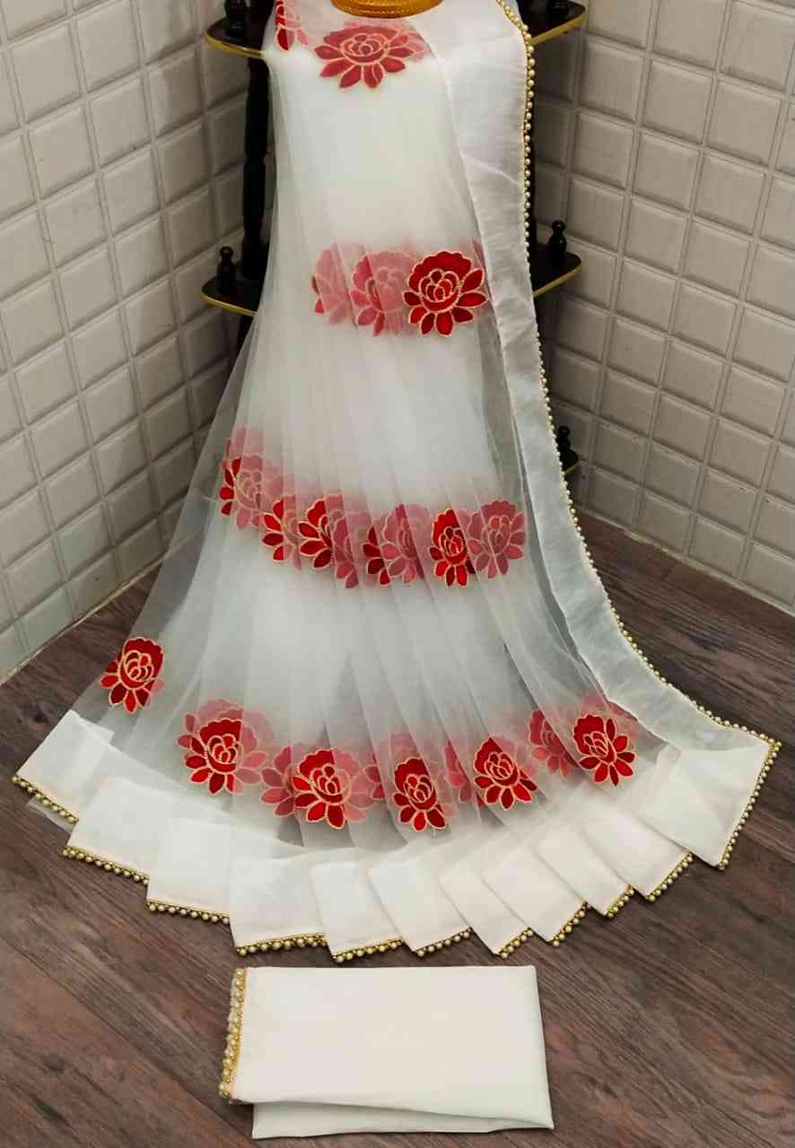 White Net With Heavy Embroidery Saree With Blouse Piece