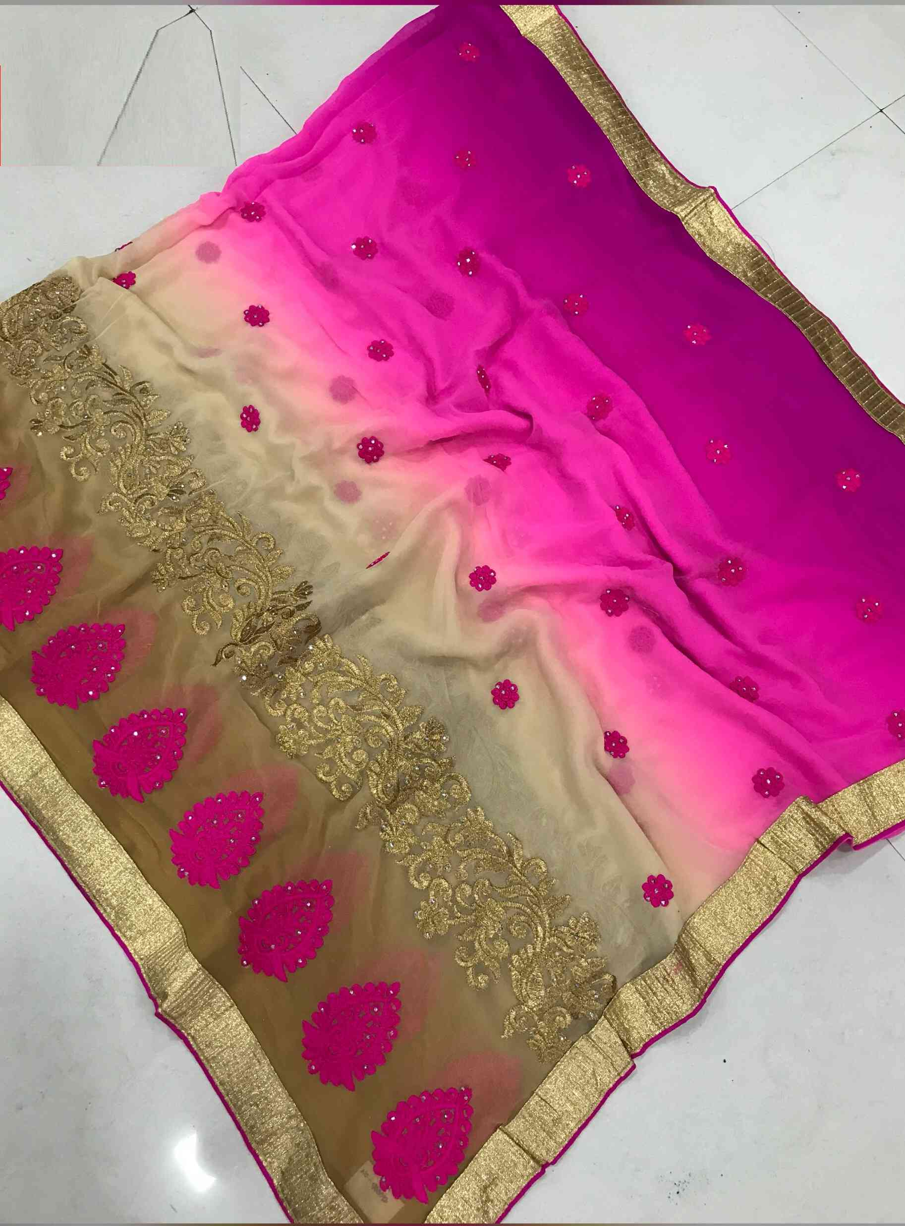 Weight Less Georgette Pink Colored Embroidered Saree - DVDDN10006D